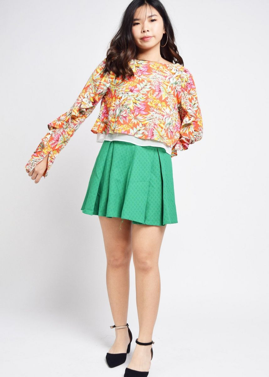 Multi color Tops and Tunics . Julienne Ruffle Sleeves Tropical Blouse -