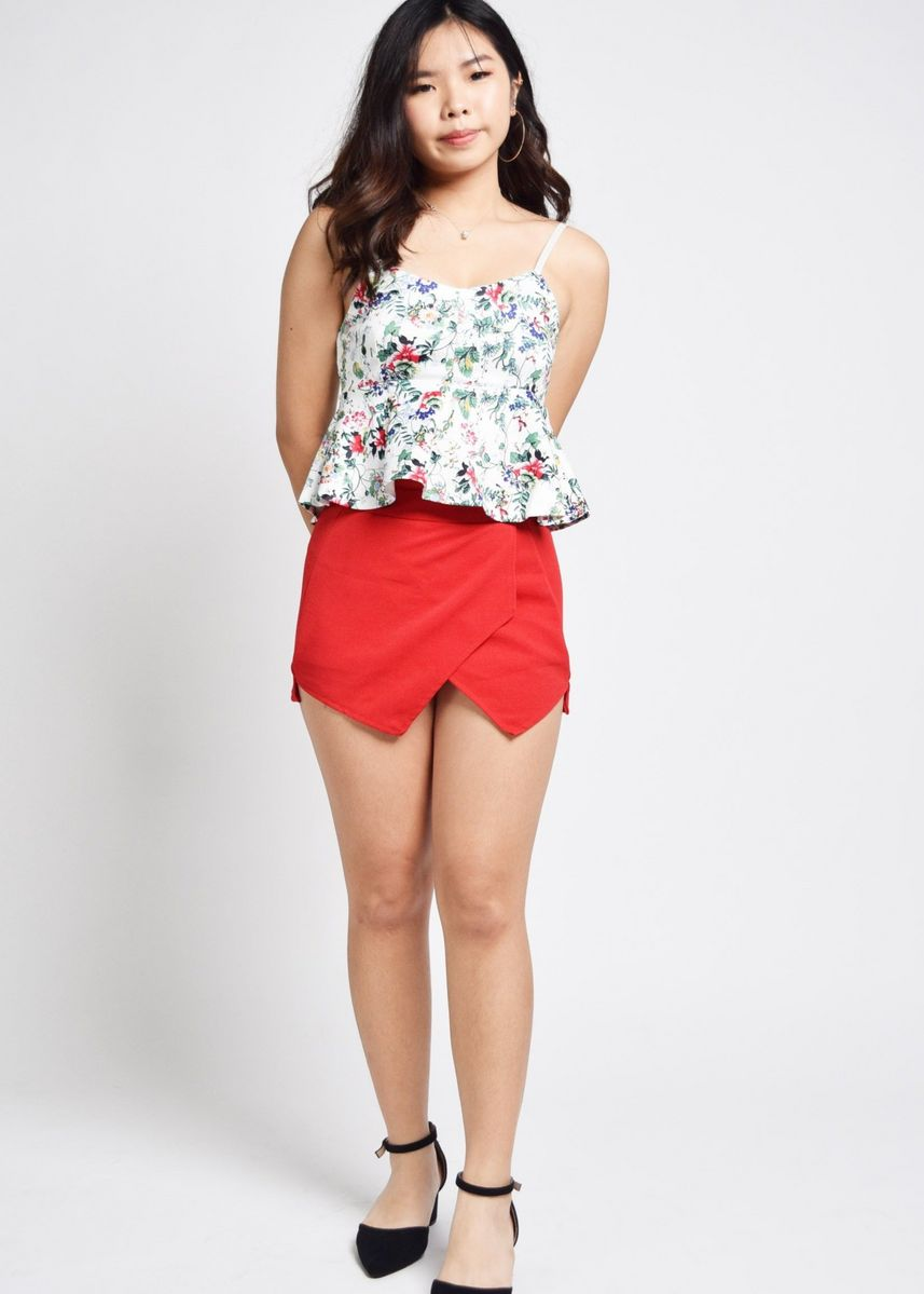 White color Tops and Tunics . Inverness Floral Peplum Top -
