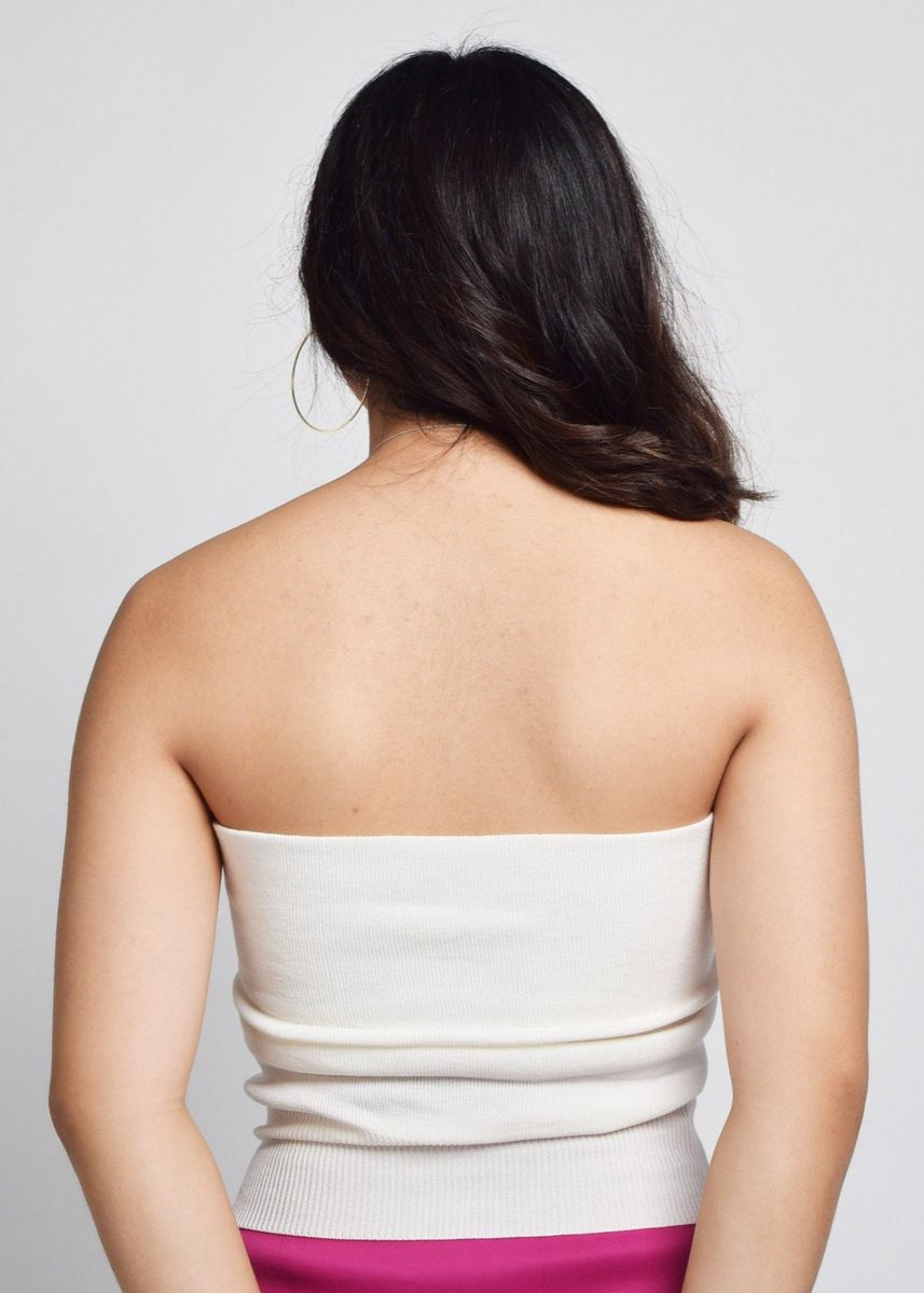 White color Tops and Tunics . Cesalie Button Tube Top -