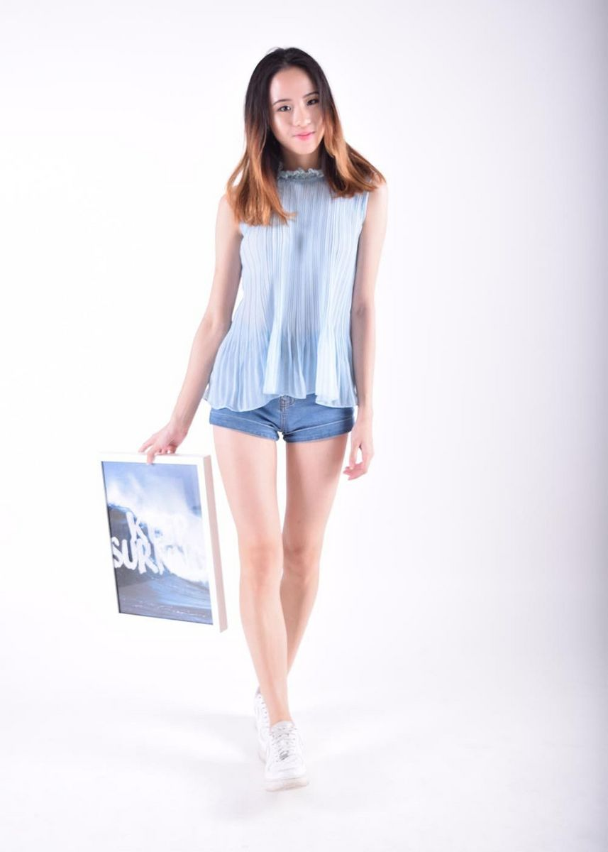 Blue color Tops and Tunics . Hysanthe Pleated Collared Blouse -