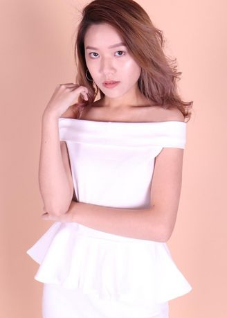 White color Tops and Tunics . Wynter White Offsie Peplum Top -