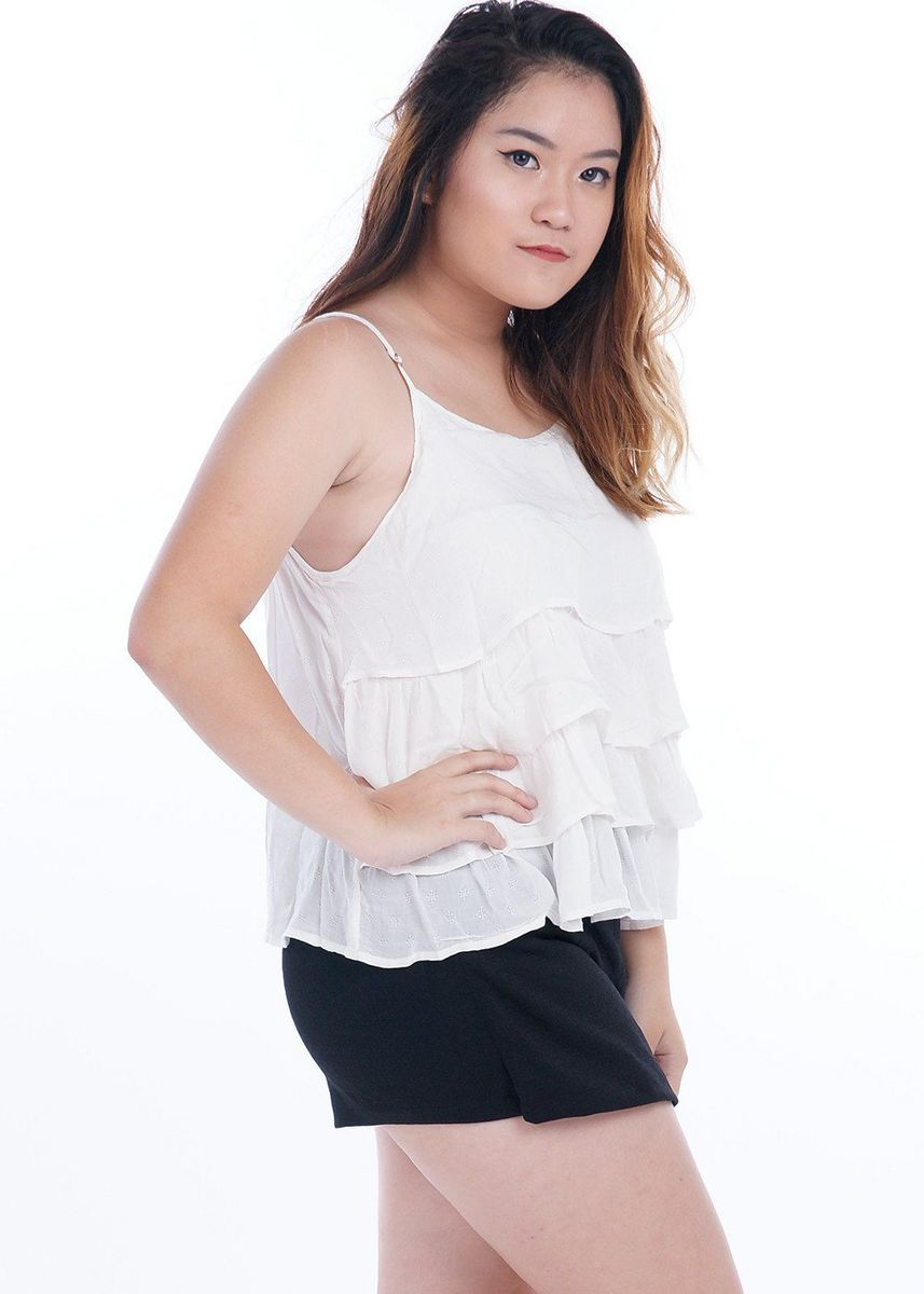 White color Tops and Tunics . Fyzar Multilayer Waterfall Top -