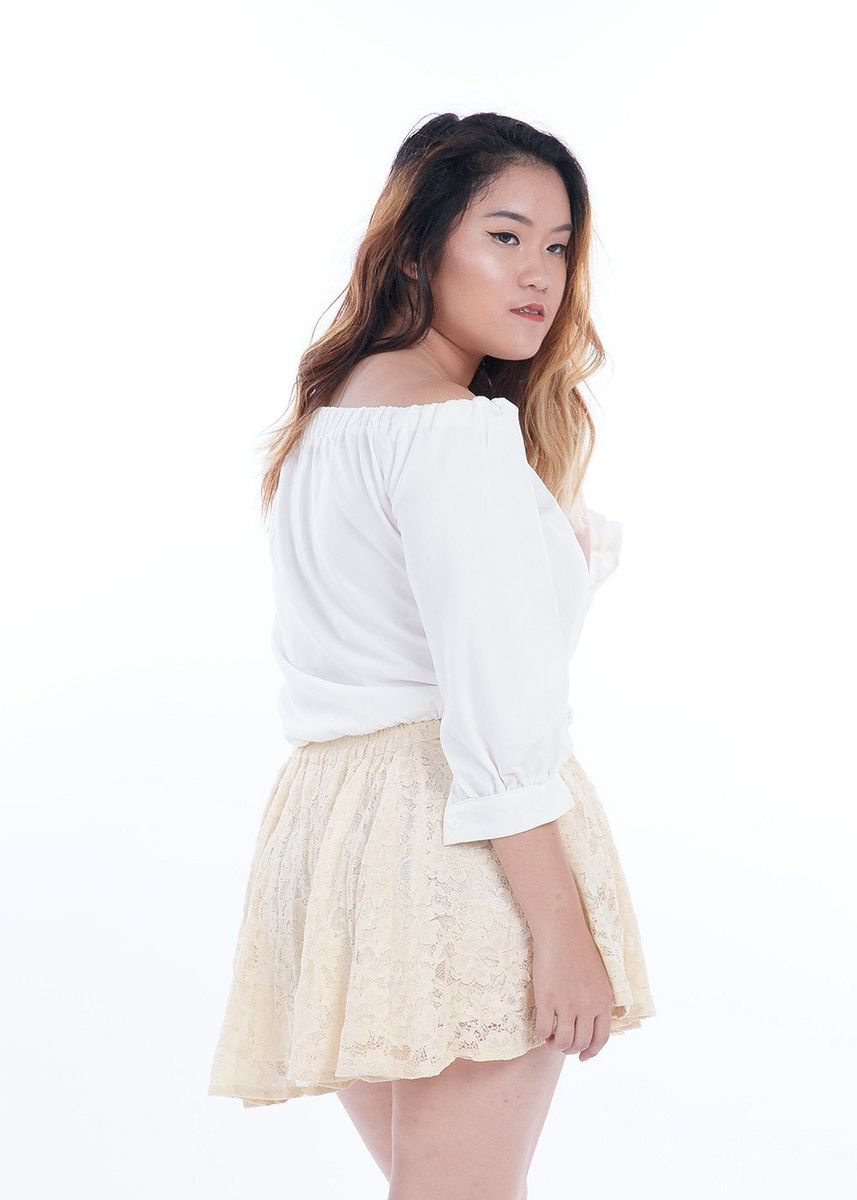 White color Tops and Tunics . Fai Basic Elastic Offsie Top -