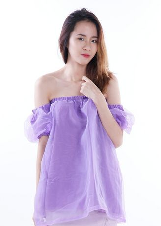 Purple color Tops and Tunics . Naomi Fairy Sleeves Offsie Top -