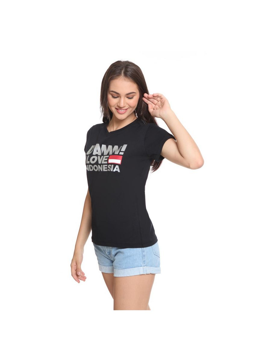 Hitam color Kaus & Kemeja . Tee Sign Black HD Silver Female -