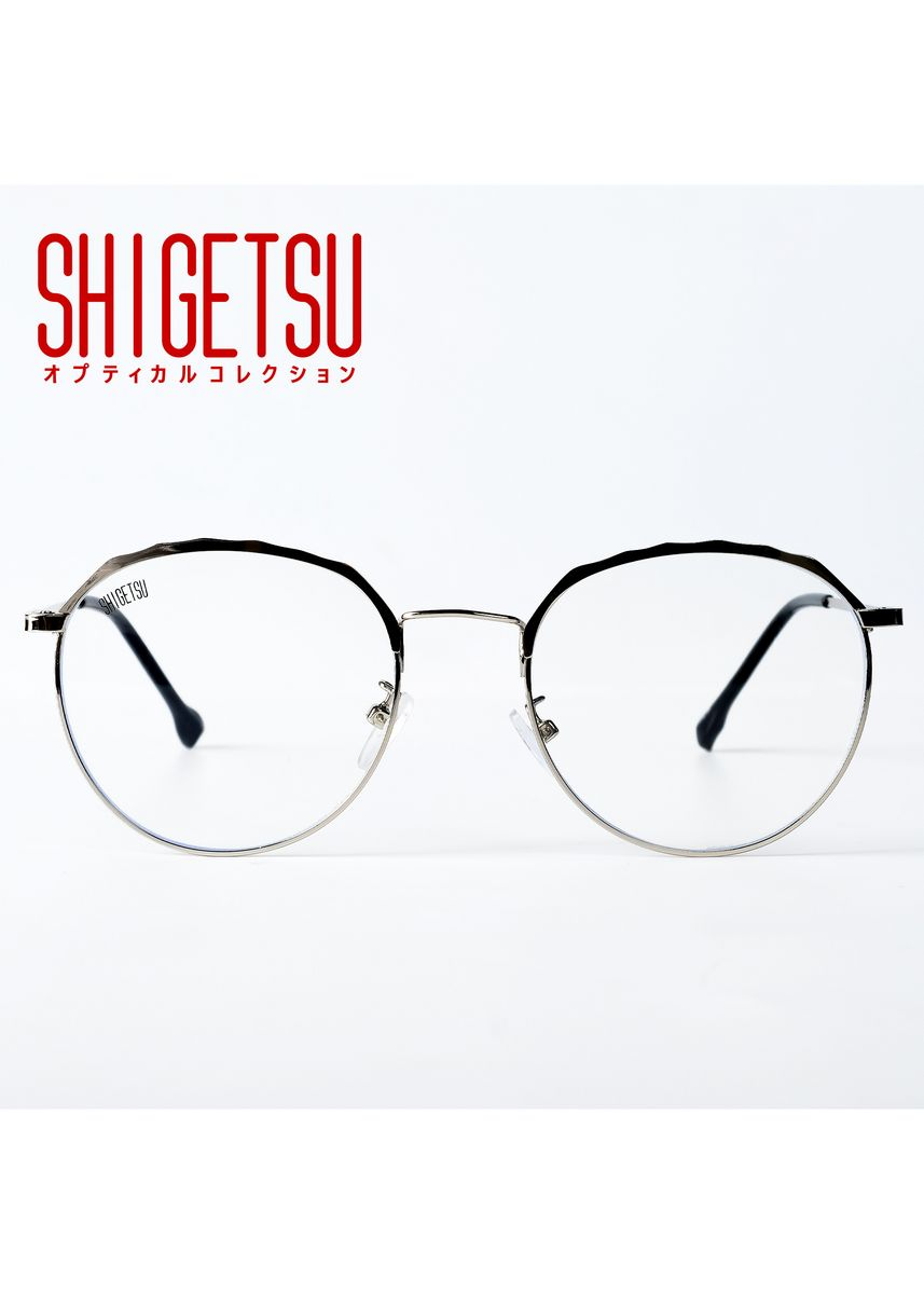 Silver color Frames . Shigetsu IWATE Semi round Computer eyeglasses for Men with Anti Radiation/Bluelight Metal Frame -