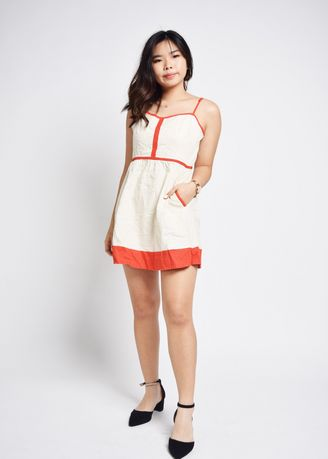 White color Dresses . Ismeni Orange Trim Panel Dress -