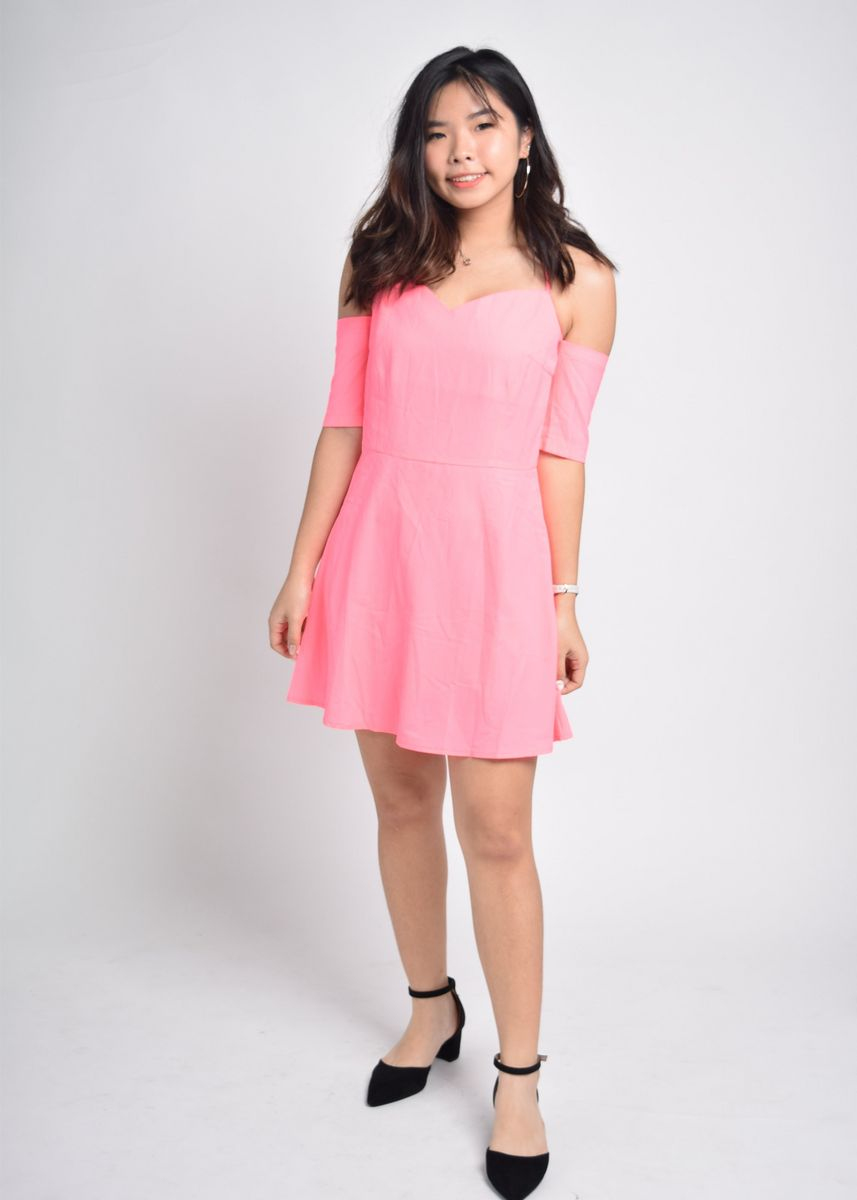 Pink color Dresses . Fabiola Dropsleeves Crossback Dress -
