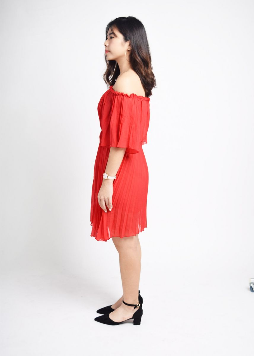 Red color Dresses . Forrest Pleated Dress -