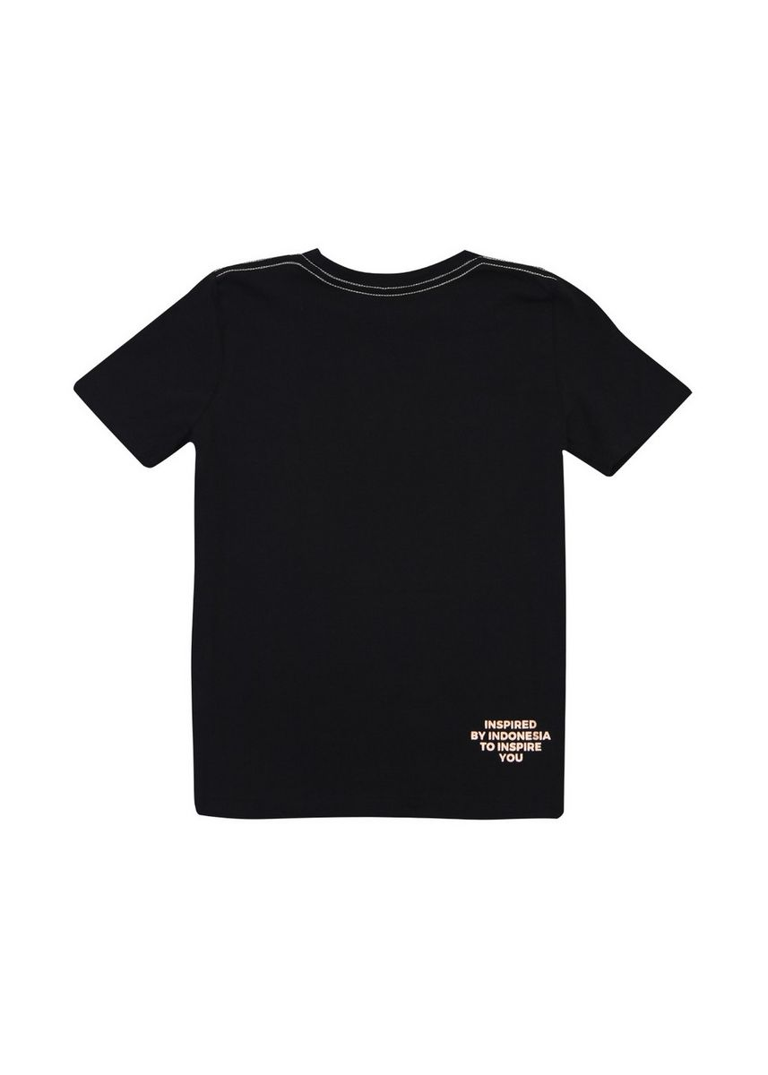 Hitam color Kaus Oblong & Polo . Tee Sign Black Foil Rosegold Junior -