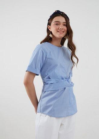 Blue color Tops and Tunics . Ariel Mix Pattern Top Blue -