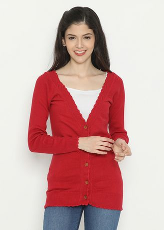 Red color  . Basic Cardigan Red Mobile Power Ladies - D20185 -