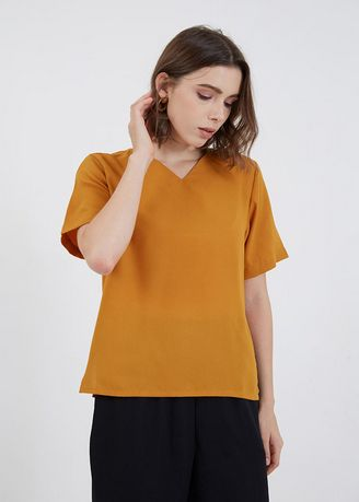 Tops and Tunics . Jessey V-Neck Top Mustard -