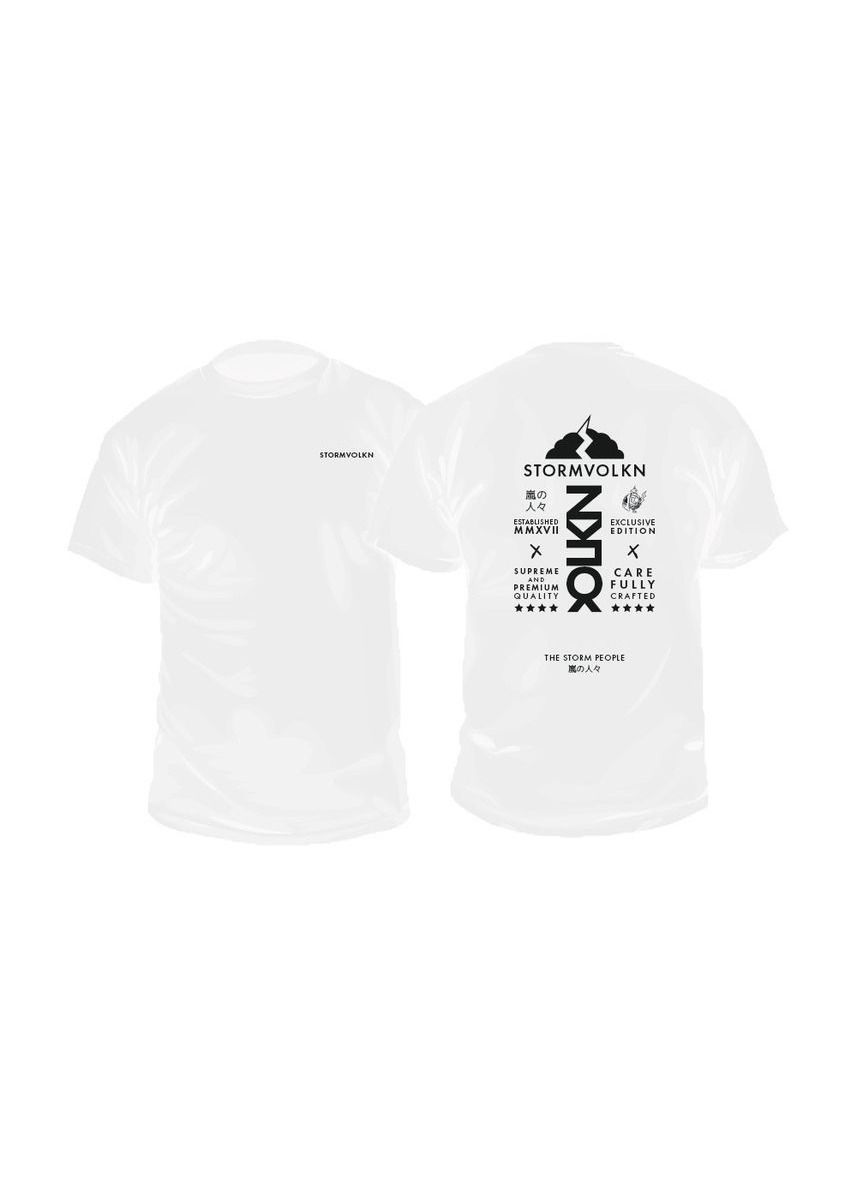 White color T-Shirts and Polos . STORMVOLKN - The Storm People T-shirt -