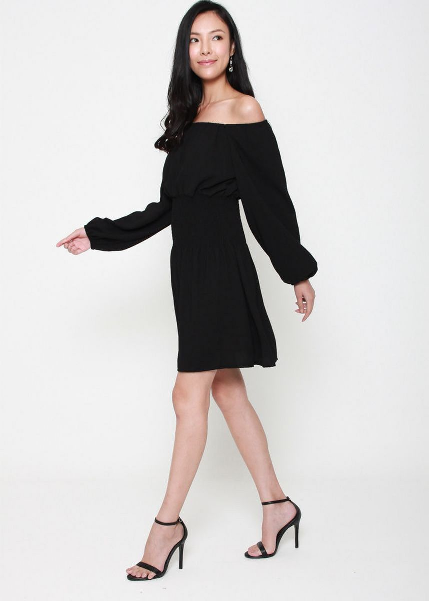 Black color Dresses . Swing Along Off The Shoulder Dress  -