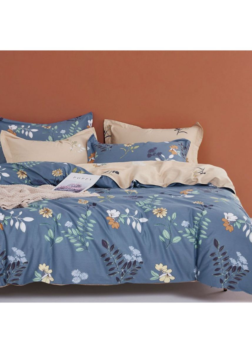 Biru color Kamar Tidur . Sleep Buddy Set Sprei Fixie Flower Cotton Sateen Single Size -
