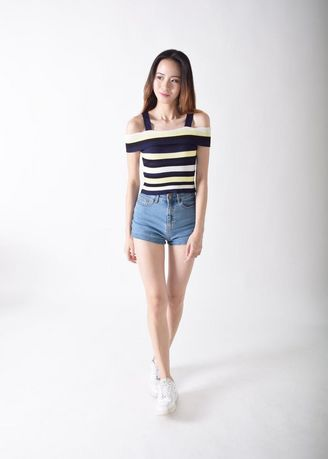 Blue color Tops and Tunics . Kaylene On And Off Stripes Top -