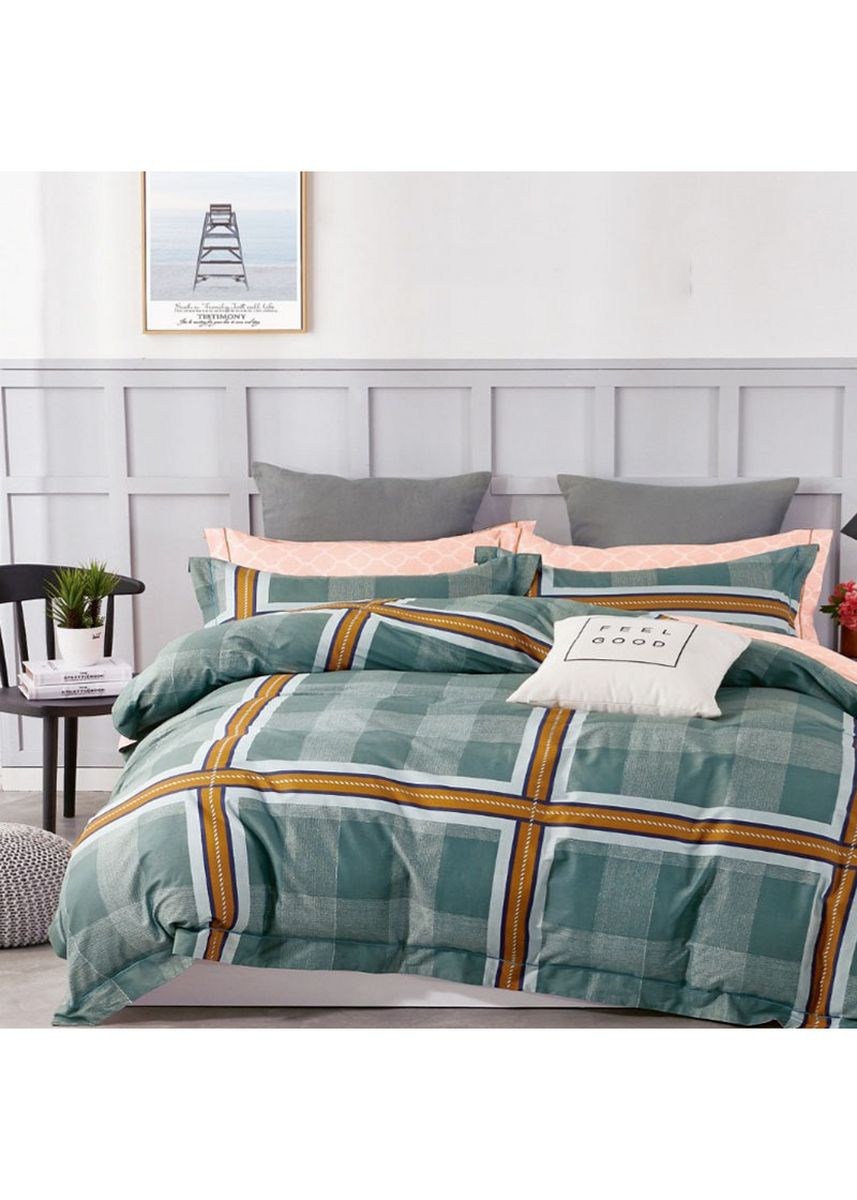 Green color Bedroom . Sleep Buddy Set Sprei Square Outline Cotton Sateen Single Size -
