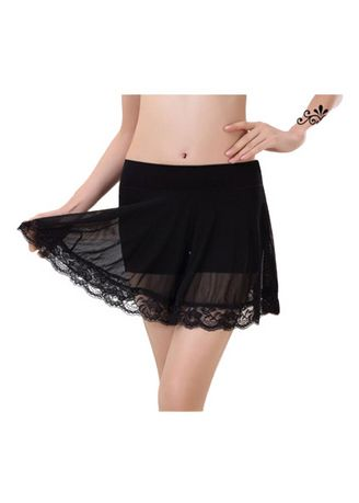 Black color Skirts . High Quality Elegant 2 Pc Design Bamboo Fibre Lace Skirt With Panties -