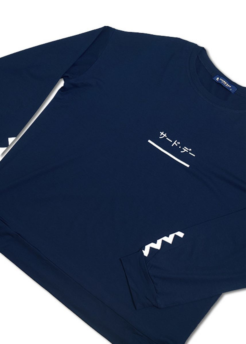 Navy color Tees & Shirts . Third Day LTB18D LV katakana underline zig wrist navy -