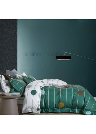 Green color Bedroom . Sleep Buddy Set Sprei Green Line Polka Cotton Sateen Single Size -