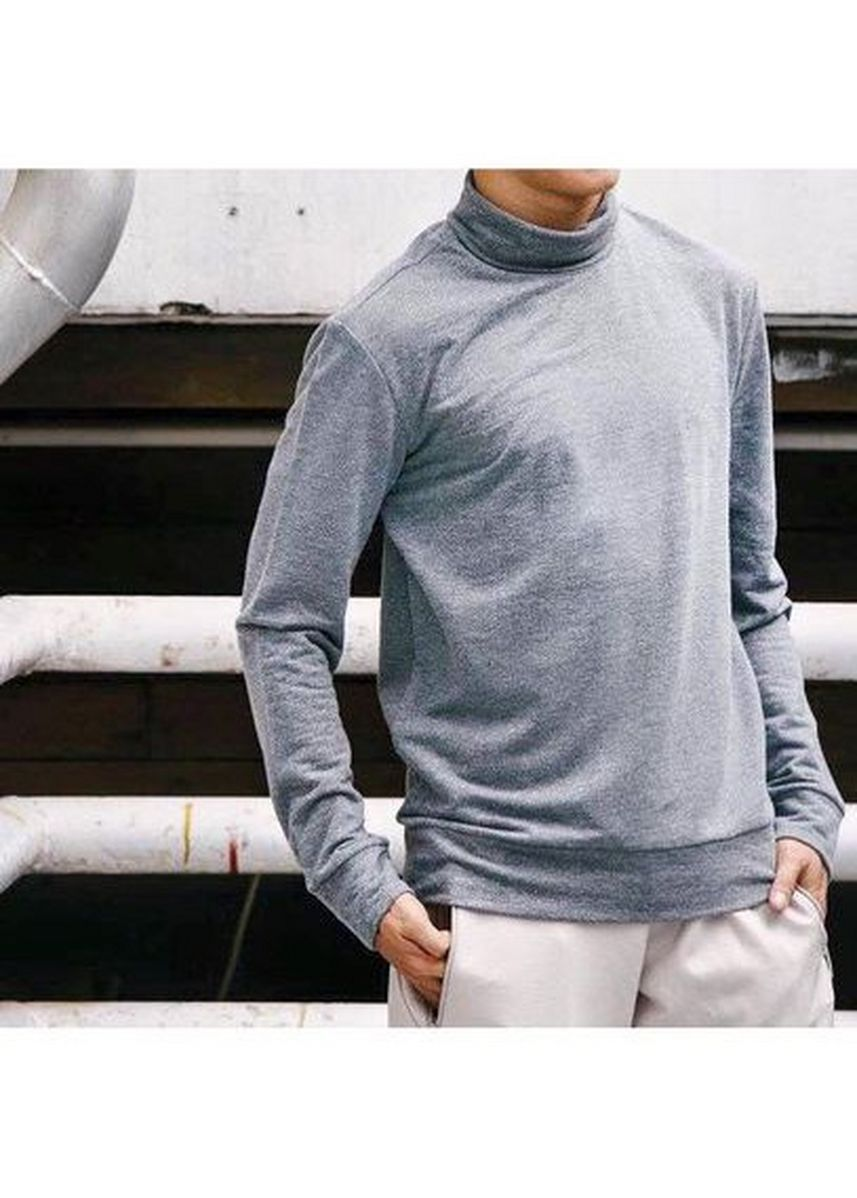 Grey color T-Shirts and Polos . Men's Solid Turtle Neck Basic Sweater -