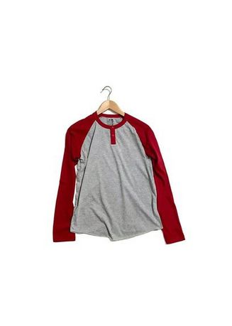 แดง color เสื้อยืดและเสื้อโปโล . High School Summer T-Shirt With Buttoned Neck & Contrast Long Sleeves -