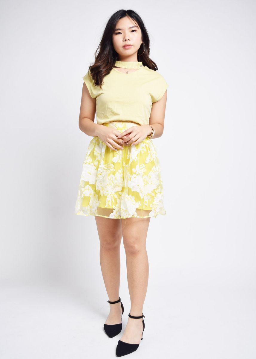 Yellow color Skirts . Gioda Yellow Florals Layered Skirt -