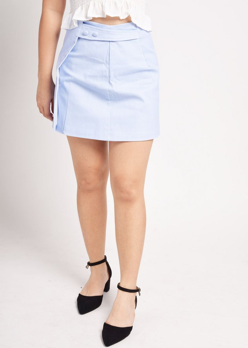 Blue color Skirts . Dicarta Striped Button And Overlap Panel Skirt -