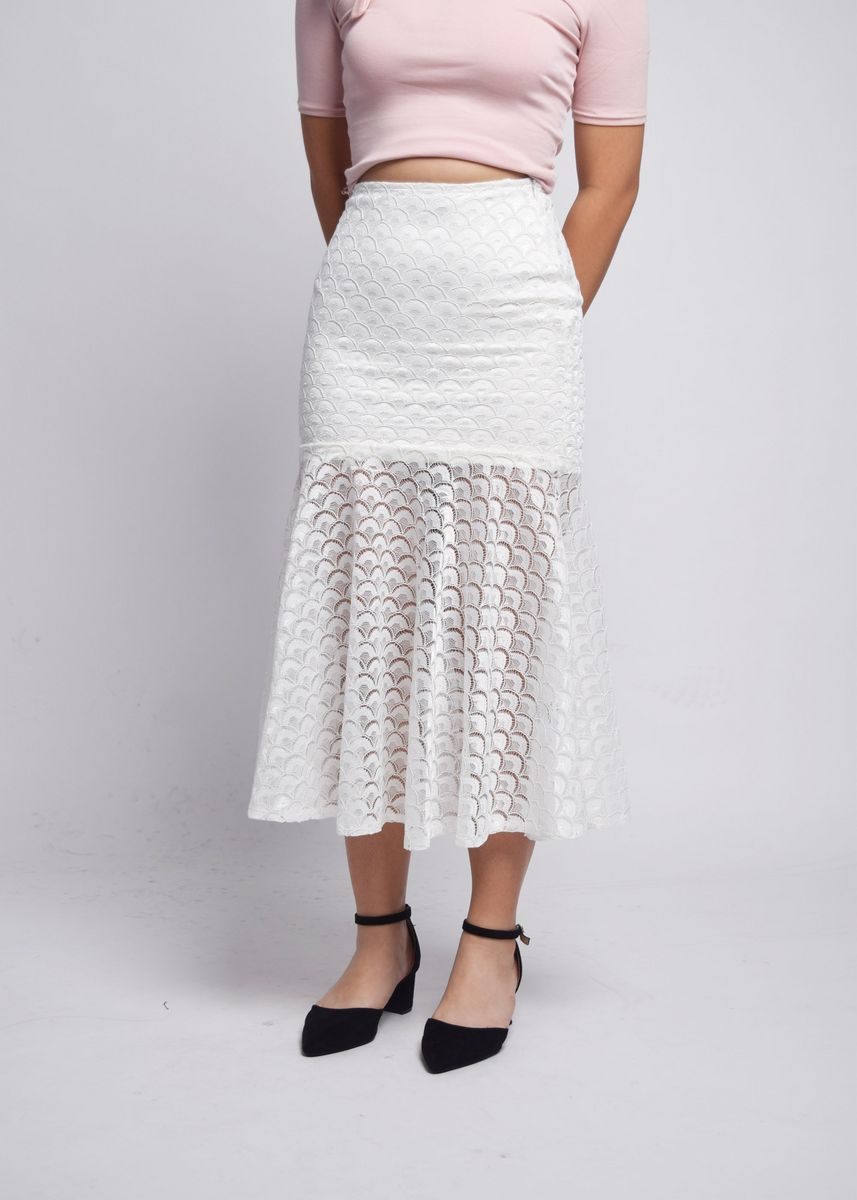 White color Skirts . Venessa Mermaid Scales Fishtail Skirt -