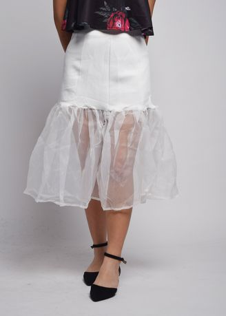 White color Skirts . Velucia Organza Trim Maxi Skirt -