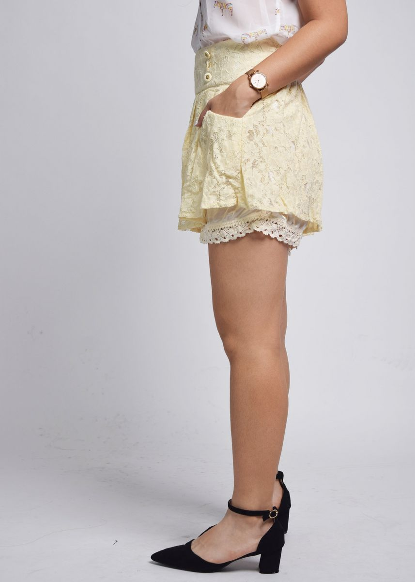 Beige color Shorts . Gessina Button Line Broderie Anglaise Shorts -