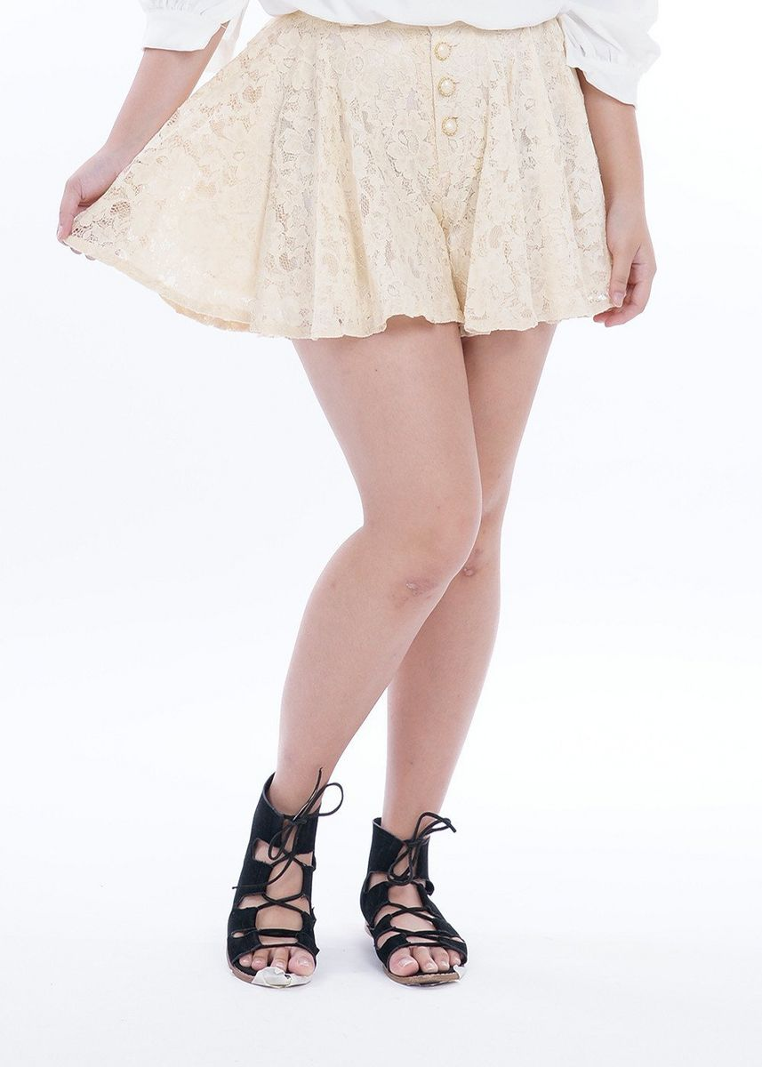 Beige color Shorts . Fabia Lace Fantasy Skorts -