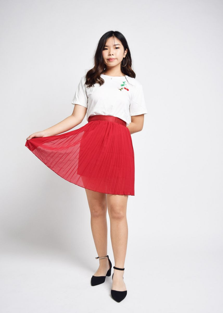 Red color Skirts . Ievita Pleated Satin Finish Skirt -