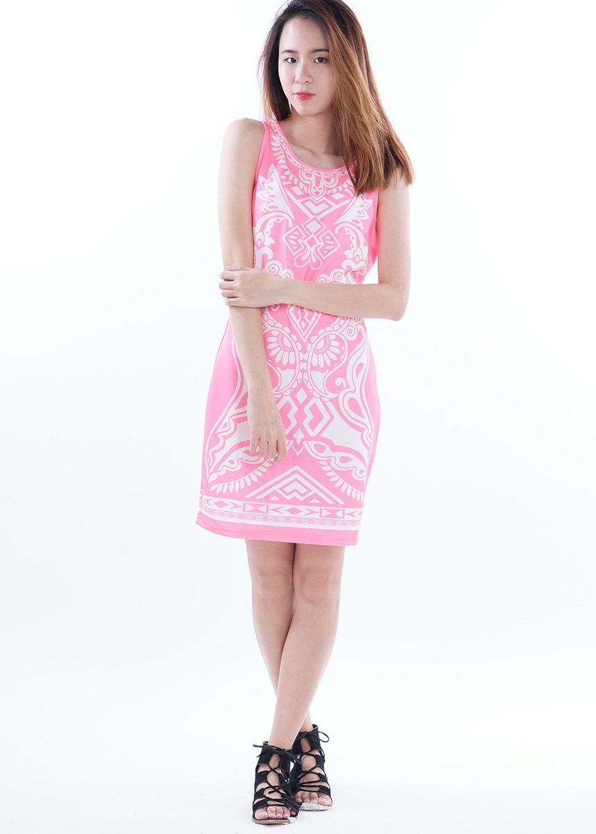 Pink color Dresses . Cydia Patterned Perfect Bodycon Dress -