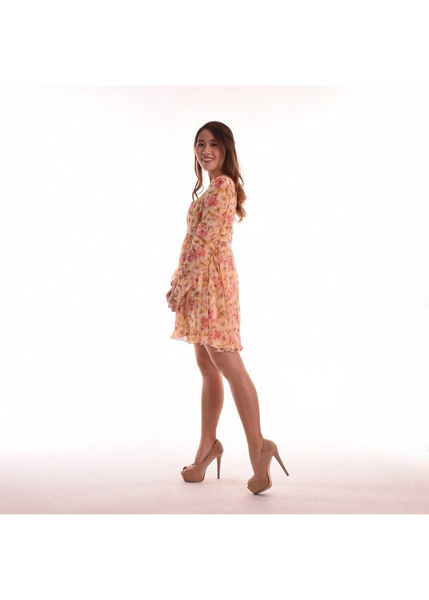 Yellow color Dresses . Cezanne Sleeved Floral Chiffon Dress -