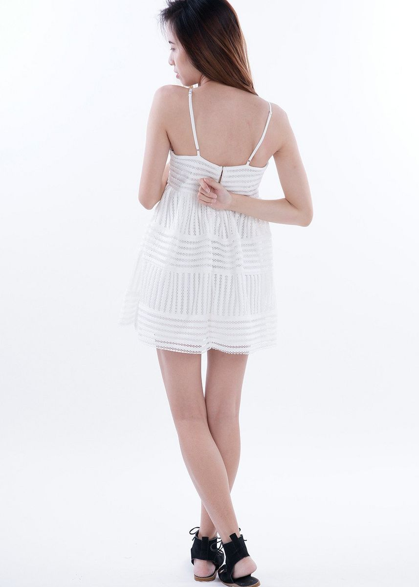 White color Dresses . Thestra Lines And Eyelets Dress -