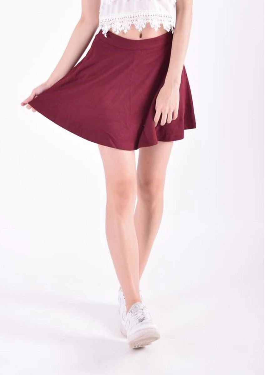 Red color Skirts . Jameson Basic Skater Skirt -