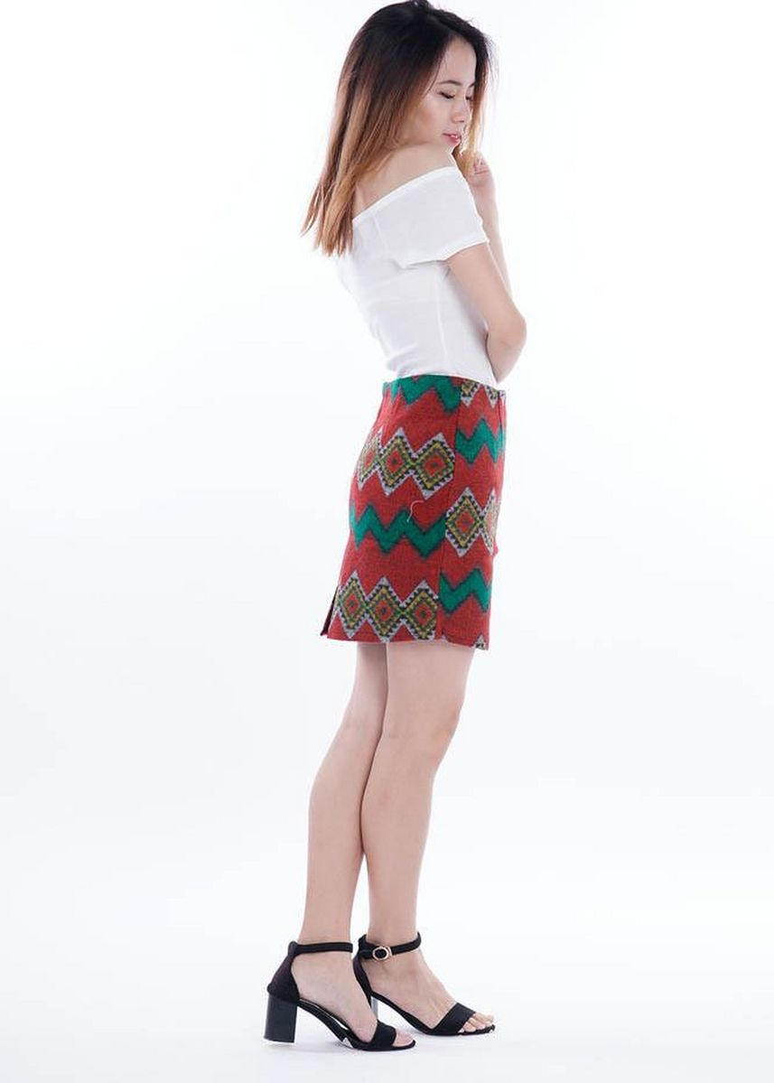Red color Skirts . Wintry Warm Skirts - Tribal V -