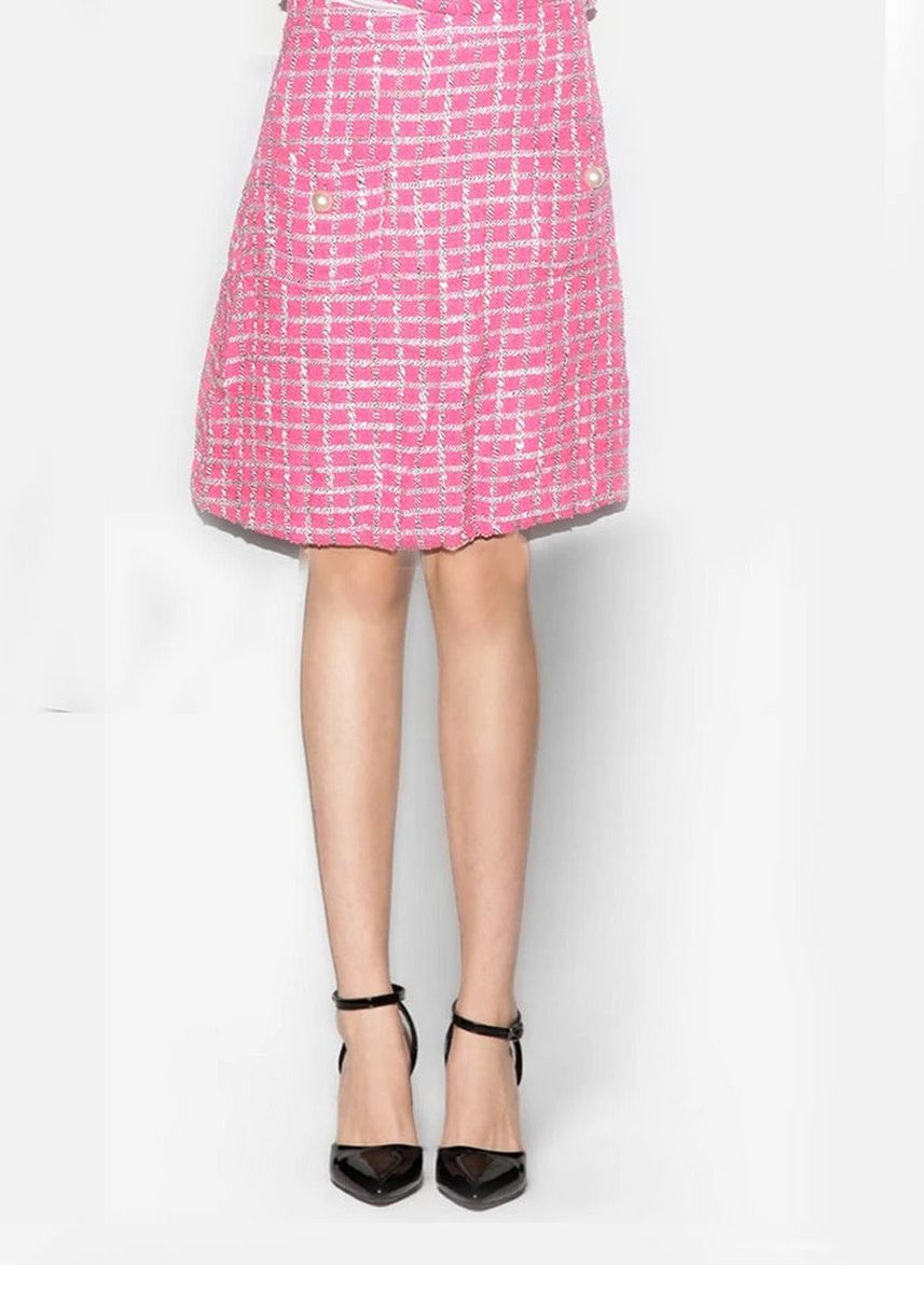 Pink color Skirts . Zalea Pink And Silver Plaid Skirt -