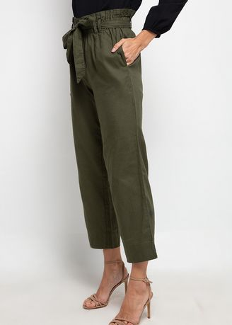 Olive color Trousers . SIMPLICITY High Waist Elastic Pants -