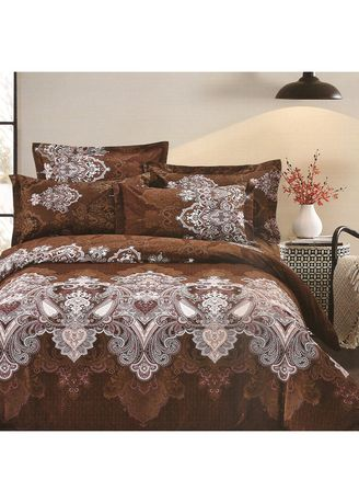 Brown color Bedroom . Osaka Set Sprei dan Bed Cover OSJ 49A Sateen Jepang Queen Size  -
