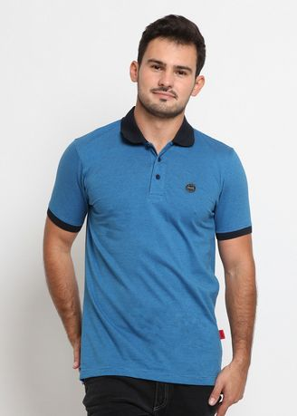 Blue color T-Shirts and Polos . POLICE Polo Shirt Salur Patch Logo Pria -