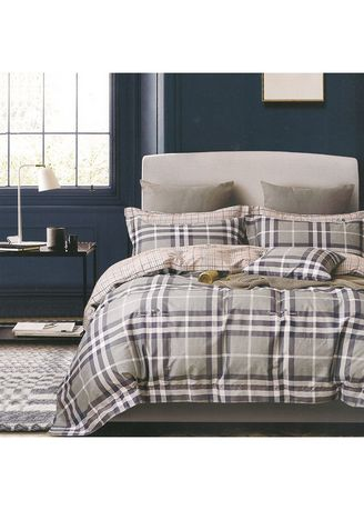 Grey color Bedroom . Osaka Set Sprei dan Bed Cover Grid Lines Sateen Jepang Extra King Size -