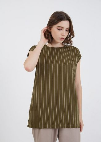 Green color Tops and Tunics . Jaslyn Long Slit Top Army -