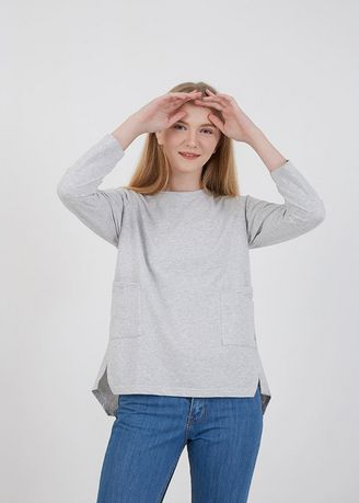 Tops and Tunics . Sophie Milly Pocket Blouse Light Grey -