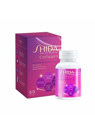 No Color color Beauty Supplement . [ลัง 100 กระปุก] SHIDA COLLAGEN Dietary Supplement 60 Capsule -