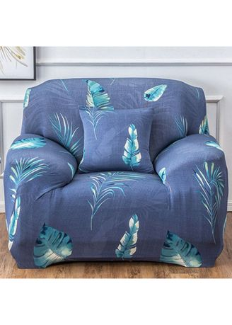 Cyan color Sofas . 1 Seater Milk shreds Printed Sofa Cover W/ Foam Stick Stretch Full Cover Universal Cover -