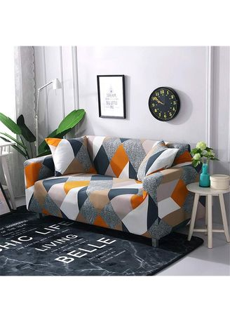Yellow color Sofas . 2 Seater Milk shreds Printed Sofa Cover W/ Foam Stick Stretch Full Cover Universal Cover -