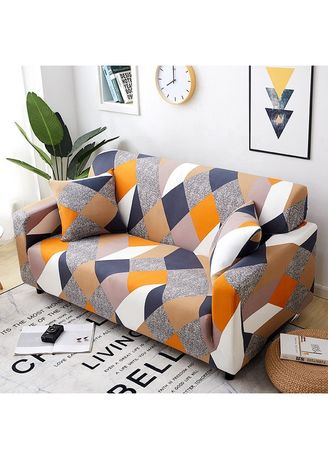 Yellow color Sofas . 3 Seater Milk shreds Printed Sofa Cover W/ Foam Stick Stretch Full Cover Universal Cover -